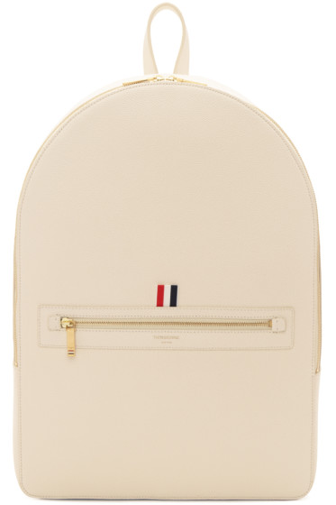 Thom Browne - Off-White Leather Backpack