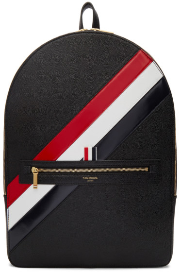 Thom Browne - Black Diagonal Stripe Backpack