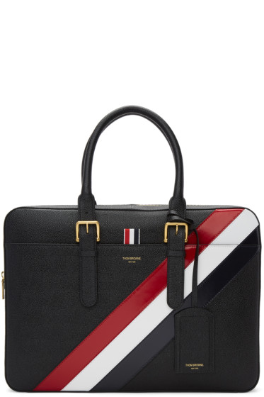 Thom Browne - Black Diagonal Stripe Business Briefcase