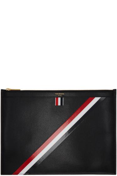 Thom Browne - Black Medium Diagonal Stripe Zipper Document Holder