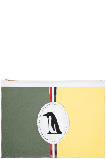 Thom Browne - Green Medium Penguin Icon Document Holder