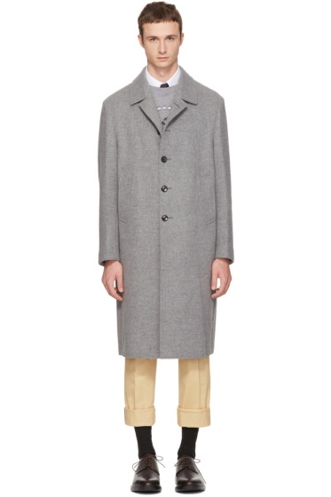 Thom Browne - Grey Long Relaxed Bal Collar Coat