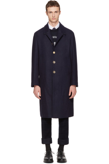 Thom Browne - Navy Long Relaxed Bal Collar Coat