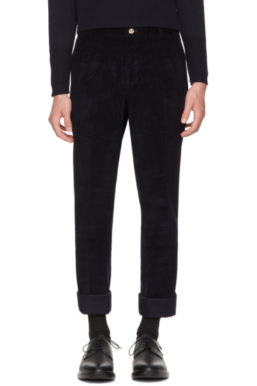 Navy Corduroy Unconstructed Chinos Thom Browne