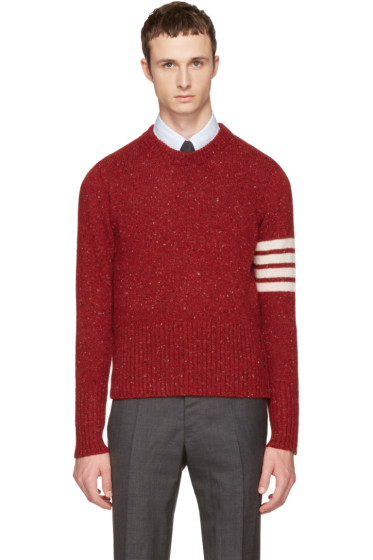 Thom Browne - Red Classic Mohair Crewneck Pullover