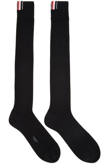 Thom Browne - Black Ribbed Knee-High Socks