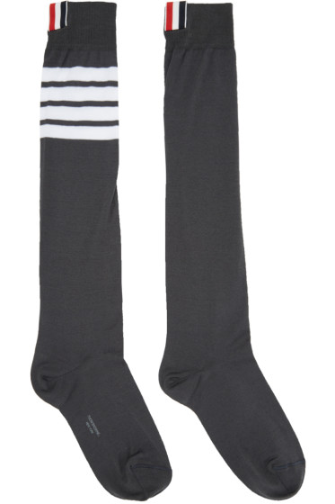 Thom Browne - Grey Ribbed Knee-High Four Bar Socks
