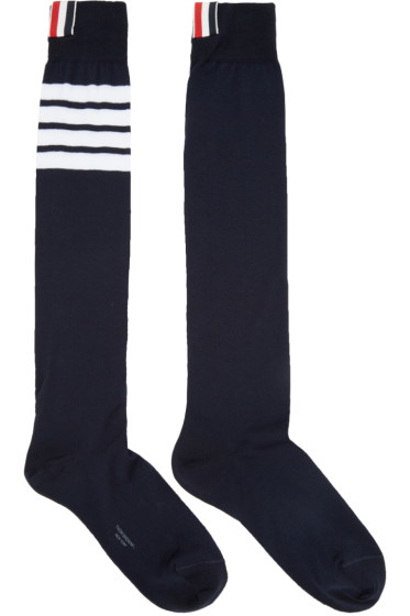 Thom Browne - Navy Ribbed Knee-High Four Bar Socks
