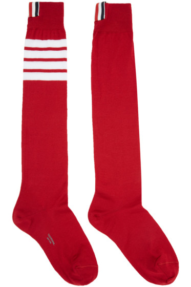 Thom Browne - Red Ribbed Knee-High Four Bar Socks