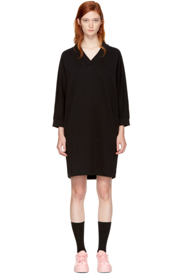 Kenzo - Black Logo V-Neck Sweatshirt Dress