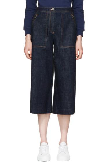 Kenzo - Blue Cropped Wide-Leg Jeans