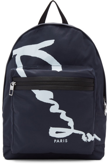Kenzo - Navy Signature Logo Backpack