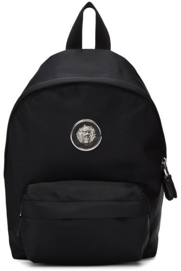 Versus - Black Small Nylon Lion Medallion Backpack