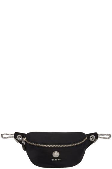 Versus - Black Nylon Lion Medallion Waist Bag