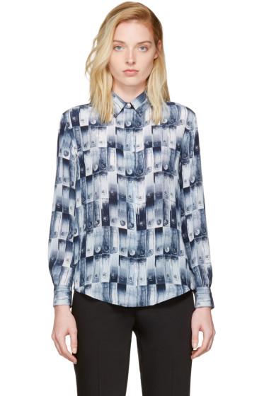 Versus - Blue Silk Safety Pin Print Shirt