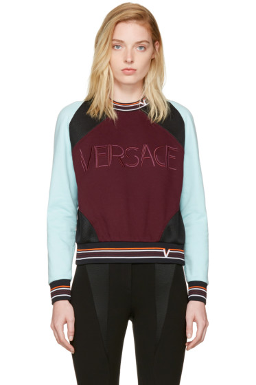 Versace - Burgundy & Blue Colorblocked Logo Sweatshirt