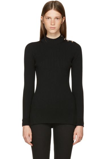 Versace - Black Rib Mock Neck Sweater