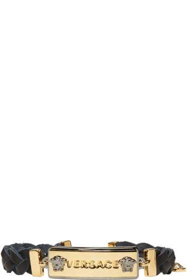 Versace - ブラック & ゴールド ロゴ タグ ブレスレット