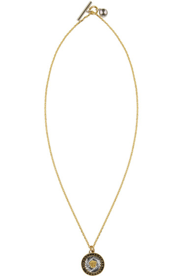 Versace - Gold & Silver Round Medusa Tag Necklace