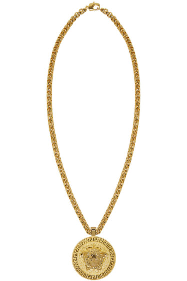 Versace - Gold Large Round Medusa Chain Necklace