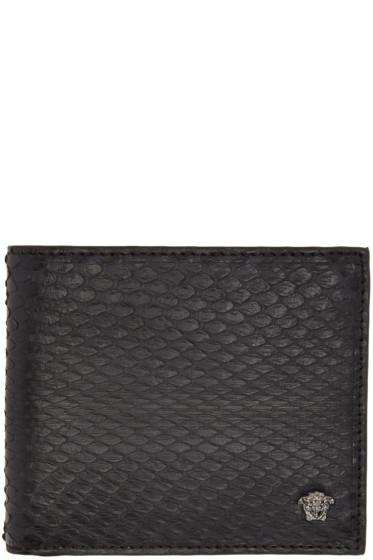 Versace - Black Snake-Embossed Bifold Wallet