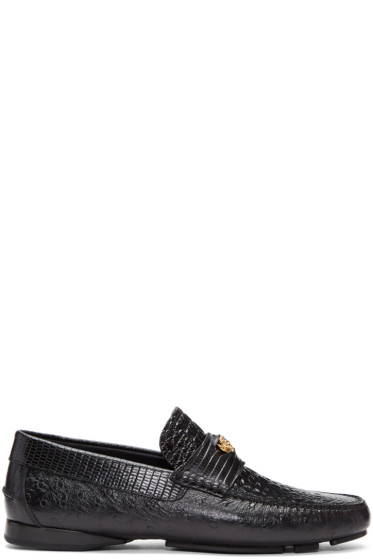 Versace - Black Croc Driver Loafers