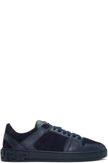 Versace - Navy Leather & Suede Sneakers