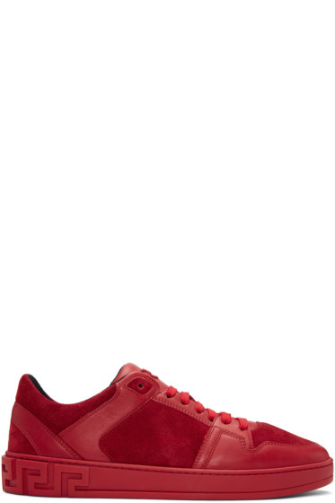 Versace - Red Leather & Suede Sneakers