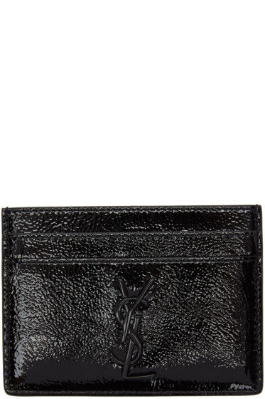 Saint Laurent - Black Patent Monogram Card Holder
