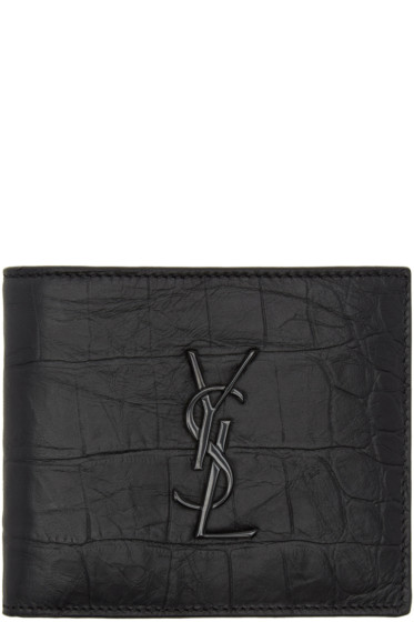 Saint Laurent - Black Croc Monogram East West Wallet