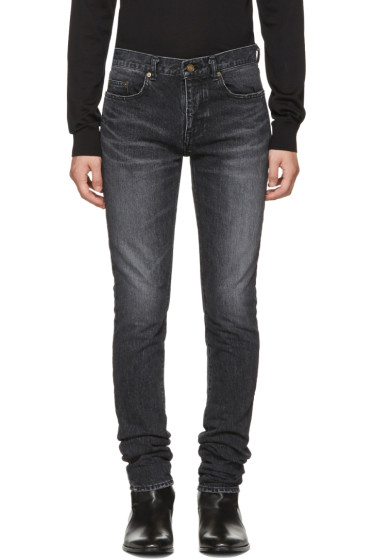 Saint Laurent - Black Low-Waisted Skinny Embroidered Jeans