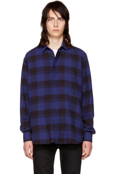 Saint Laurent - Blue Flannel Check Shirt