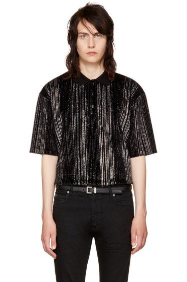 Saint Laurent - Black Striped Glitter Polo