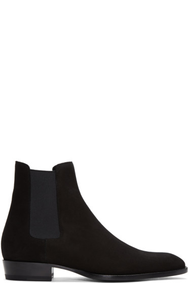 Saint Laurent - Black Suede Wyatt Chelsea Boots
