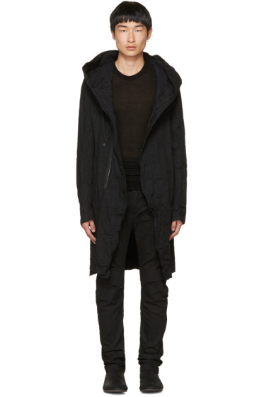 Julius - Black Denim Long Hooded Coat