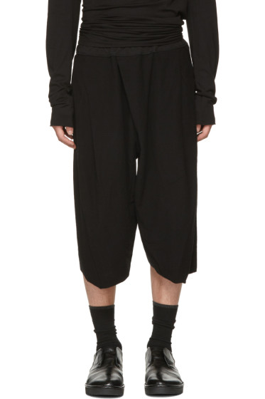 Julius - Black Tucked Baggy Trousers