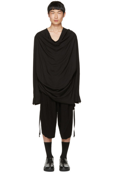 Julius - Black Draped Shirring Shirt