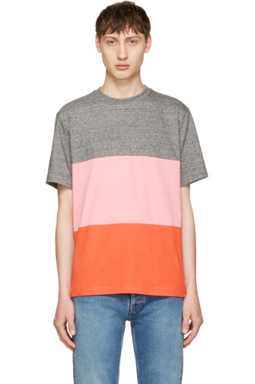 PS by Paul Smith - Grey & Pink Multistripe T-Shirt