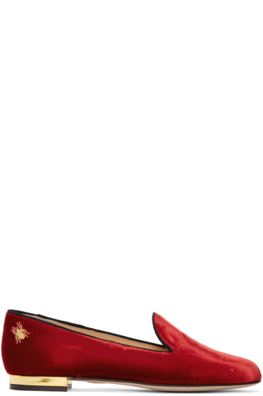 Charlotte Olympia - Red Velvet Nocturnal Loafers
