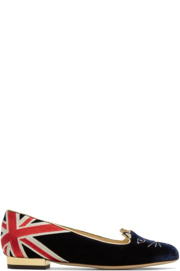 Charlotte Olympia - Navy GB Kitty Flats