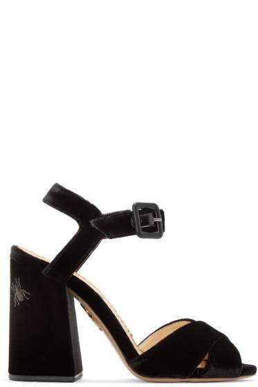 Charlotte Olympia - Black Velvet Emma Sandals