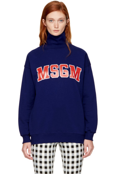 MSGM - Blue Logo Turtleneck Sweatshirt