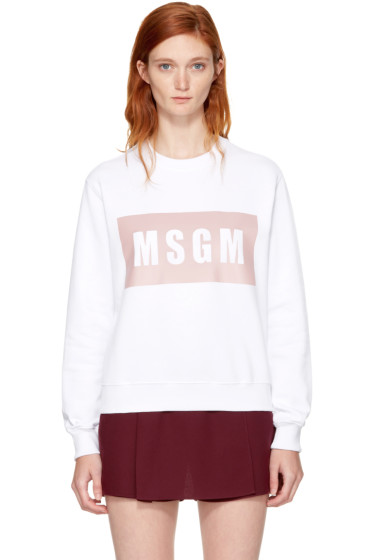 MSGM - White Box Logo Sweatshirt