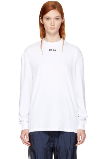 MSGM - White Long Sleeve Logo T-Shirt