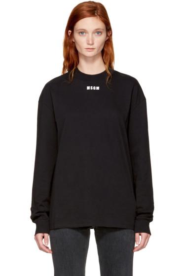 MSGM - Black Long Sleeve Logo T-Shirt