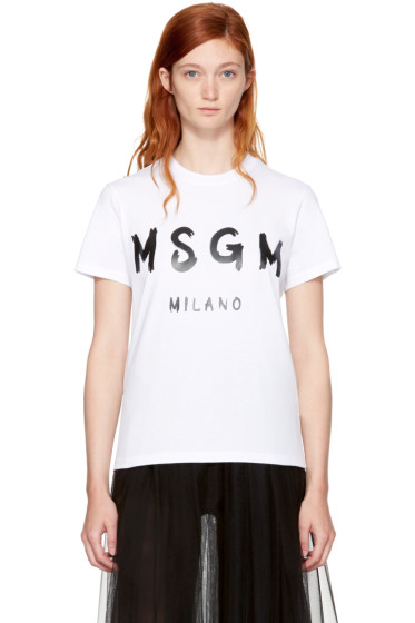 MSGM - White Milano Logo T-Shirt