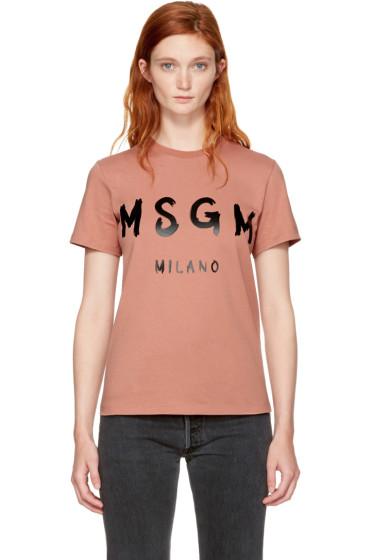 MSGM - Pink Milano Logo T-Shirt