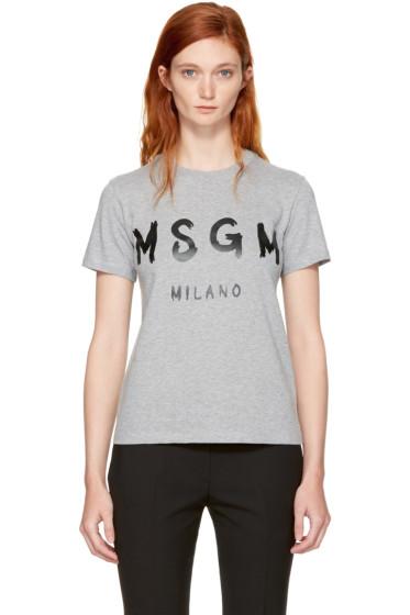 MSGM - Grey Milano Logo T-Shirt
