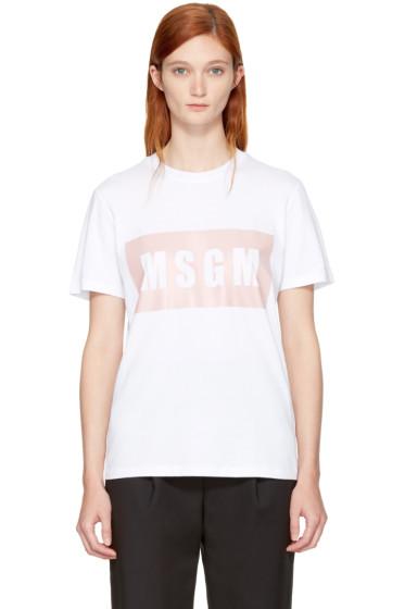 MSGM - White Box Logo T-Shirt