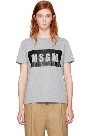 MSGM - Grey Box Logo T-Shirt